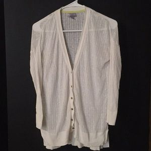 White linen blend JCP cardigan 3/4 sleeve